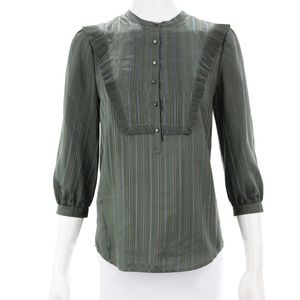 MARC BY MARC JACOBS OLIVE GREEN SILK BLOUSE 8